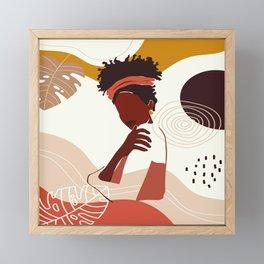 Black Woman Illustration Art, Portrait Print, Black Girl Wall Art, African American Woman Art Framed Mini Art Print