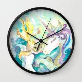 Kelpie unicorn and goldfish Wall Clock