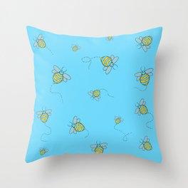Buzzing Bees Throw Pillow