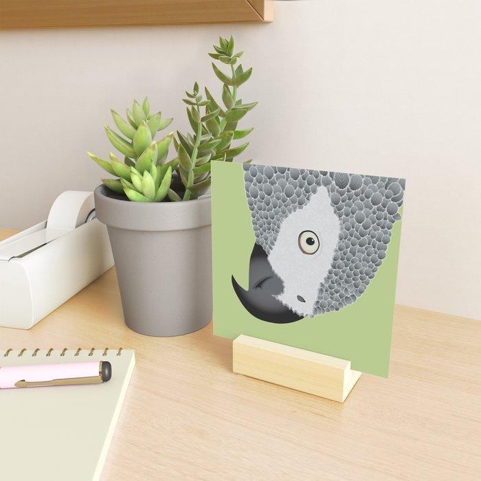 African Grey Parrot [ON MOSS GREEN] Mini Art Print