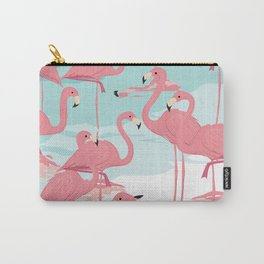 Kitschy Retro Flamingos Carry-All Pouch