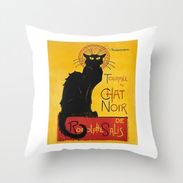 Tournée du Chat noir Throw Pillow