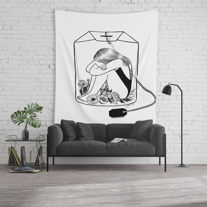 Lady grey tea wall tapestry by hennkim society6