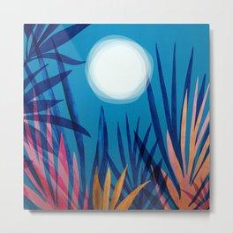 Tropical Moon / Landscape Illustration Metal Print