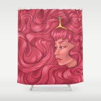 princess bubblegum Shower Curtains featuring Princess Bubblegum by Persefone