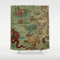 antique Shower Curtains featuring Antique Map by Lucia