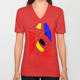 Incomplete Primary - Red, yellow, black, white, blue abstract artwork Unisex V-Neck