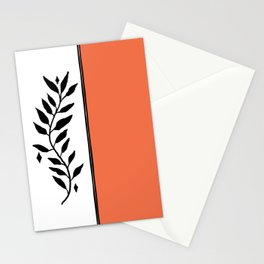 Color Block Orange White Botanical Minimalist Print Stationery Cards