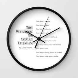 Ten principles for Good Design. By Dieter Rams Wall Clock