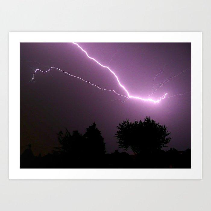 Purple Lightning Night Sky Kunstdrucke