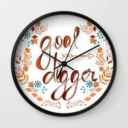 Goal digger typography Wall Clock