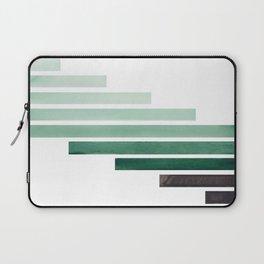 Deep Aqua Green Midcentury Modern Minimalist Staggered Stripes Rectangle Geometric Aztec Pattern Wat Laptop Sleeve