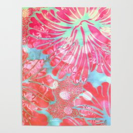 Blue Water Hibiscus Snowfall Poster
