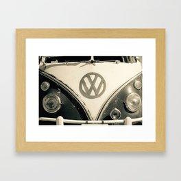 Classic Hipster Van, Photo, Black and White Framed Art Print
