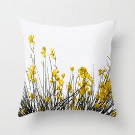 Minimal Garden -Yellow Version - Black Stems with Yellow Petals On White #decor #society6 #buyart Throw Pillow
