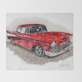 57 Chevy Throw Blanket
