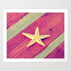 Stars and Stripes on the beach Art Print