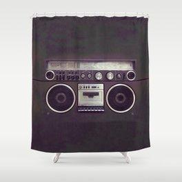 Retro Boombox Shower Curtain