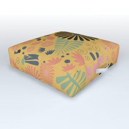 Whimsical flowers - yellow, pink and grey Outdoor Floor Cushion