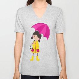 Girl In Yellow Raincoat, Girl With Pink Umbrella Unisex V-Neck