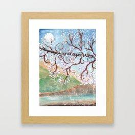 Watercolor Moonlight Illustration Framed Art Print