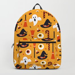 Happy halloween ghosts, brooms, eyeballs and witch hats pattern Backpack