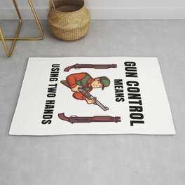 gun control means using two hands Rug