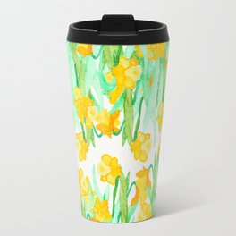 Colorful hand painted watercolor daffodil flowers  Travel Mug