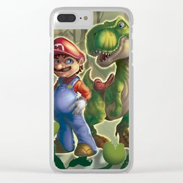 Mario and Yoshi in the real world Clear iPhone Case