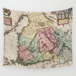 Vintage Map of Finland (1665) Wall Tapestry