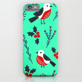 Christmas Holidays Bird Pattern With Holly Sprigs iPhone Case