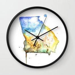 Georgia Watercolor Map - State Map Art - Watercolor Maps Wall Clock