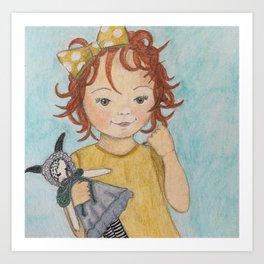 Little red headed girl Art Print