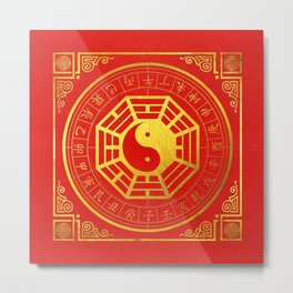 Golden Bagua Feng Shui Symbol on Faux Leather Metal Print