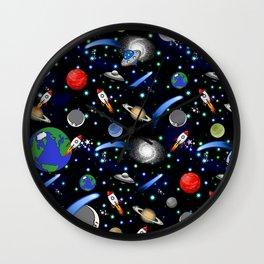 Galaxy Universe - Planets, Stars, Comets, Rockets Wall Clock