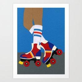 70s Roller Skate Girl Art Print