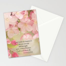 Courage quote pink spring flowers and words Stationery Cards