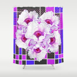 SURREAL  FUCHSIA- PURPLE TREE PEONIES   MODERN ART Shower Curtain