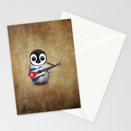 Baby Penguin Playing Cuban Flag Guitar Stationery Cards