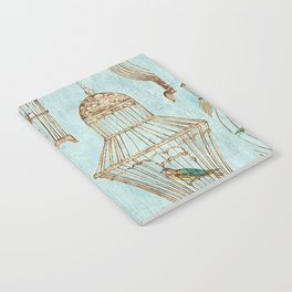 Vintage dream- Exotic colorful birds in cages on teal background Notebook