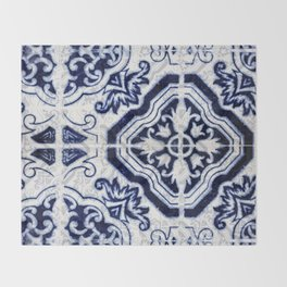 blue tile pattern VII - Azulejos, Portuguese tiles Throw Blanket