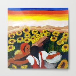 Classical Masterpiece Mexican Sunflowers 'Chismosas' floral landscape painting Metal Print