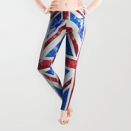 Union Jack Great Britain Flag Grunge Leggings