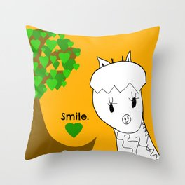 Smile! Sweet Giraffe - Art by Child Throw Pillow