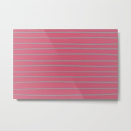 Grey and Dark Pink Minimal Stripe Pattern 2021 Color Of The Year Ultimate Gray 17-5104 Metal Print