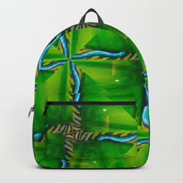 Abstract green and blue organic painting geometric design Backpack