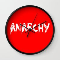 sons of anarchy Wall Clocks featuring ANARCHY by lucborell