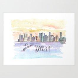New York City Skyline View From Brooklyn Art Print
