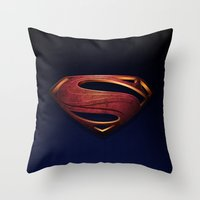 man of steel Throw Pillows featuring Man of Steel by Fortale