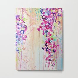 DANCE OF THE SAKURA - Lovely Floral Abstract Japanese Cherry Blossoms Painting, Feminine Peach Blue  Metal Print